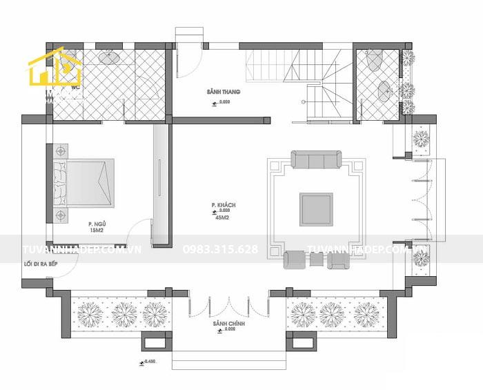 cách bố trí công năng tầng 1 của biệt thự mini 2 tầng