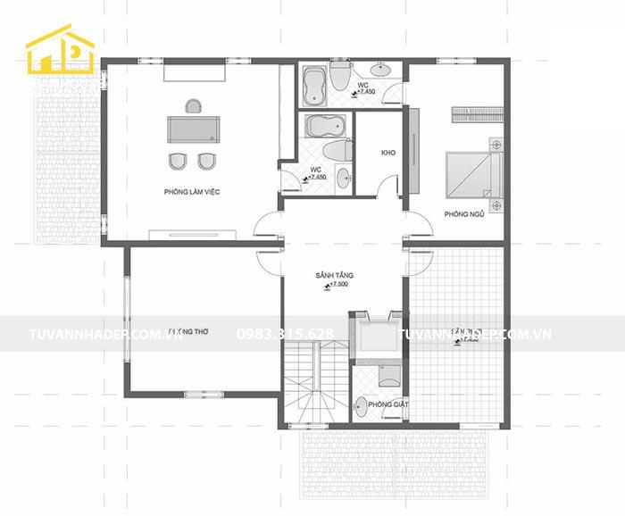 Bản vẽ chi tiết thiết kế biệt thự mini 3 tầng 120m3 tầng 3