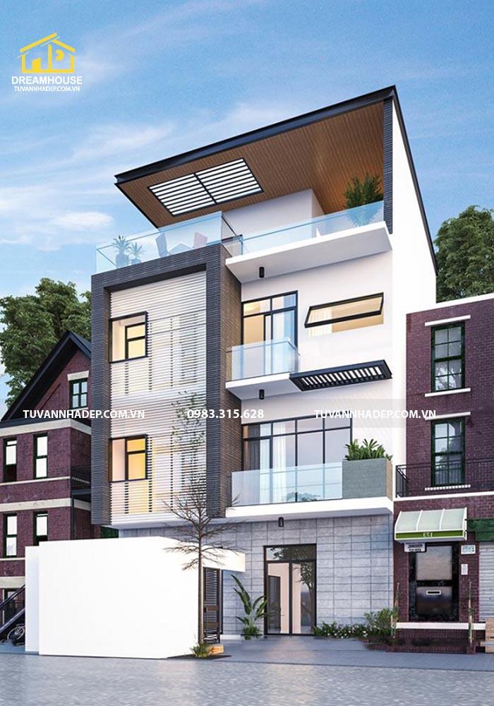 Thiết kế biệt thự 4 tầng hiện đại 100m2