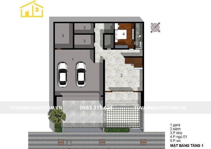 mặt bằng tầng 1 của biệt thự 110m2 4 tầng