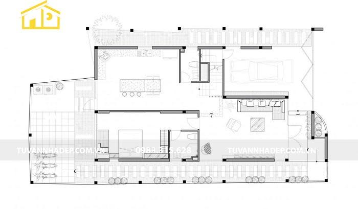 Thiết kế mặt sàn tầng 1 nhà biệt thự mini 2 tầng 100m2