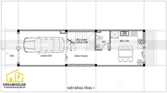 bản vẽ mặt bằng tầng 1 nhà phố 48m2