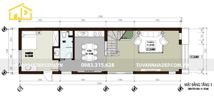 hình ảnh công năng tầng 1 nhà 4.5x15m