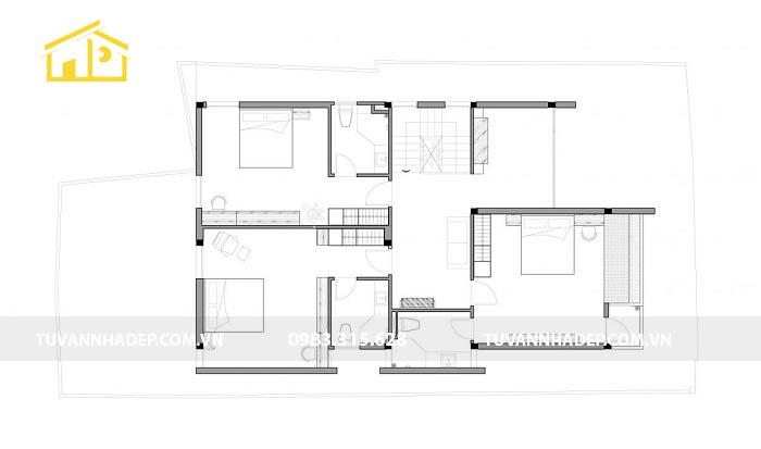 Thiết kế mặt sản tầng 2 biệt thự mini 2 tầng 150m2