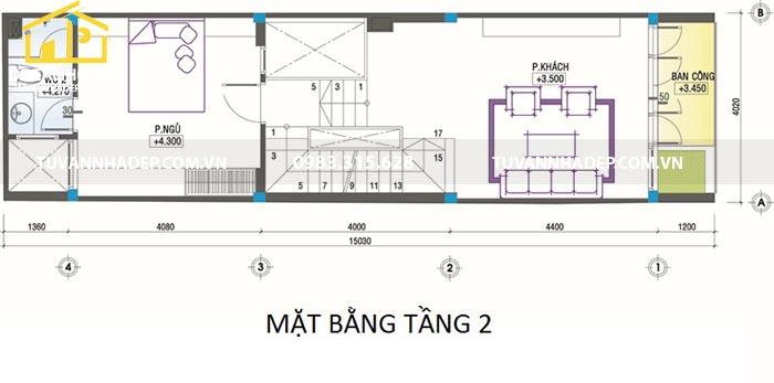 bản vẽ mặt bằng tầng 2 nhà 60m2