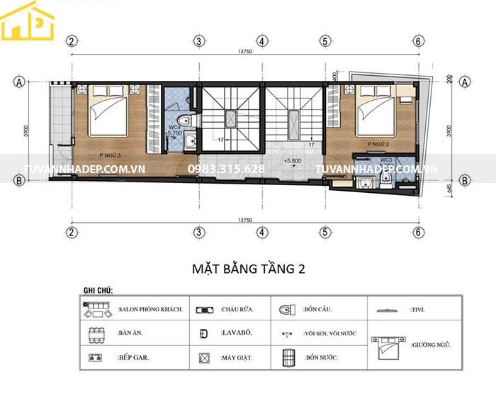 hình ảnh mặt bằng tầng 2 nhà phố mặt tiền 3.9m