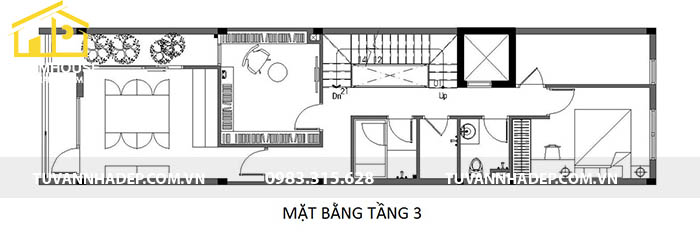 công năng tầng 3 nhà mặt tiền 4m dài 13m