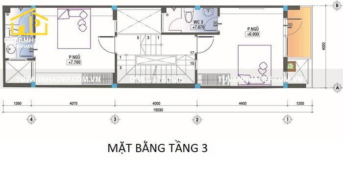 công năng tầng 3 nhà 60m2
