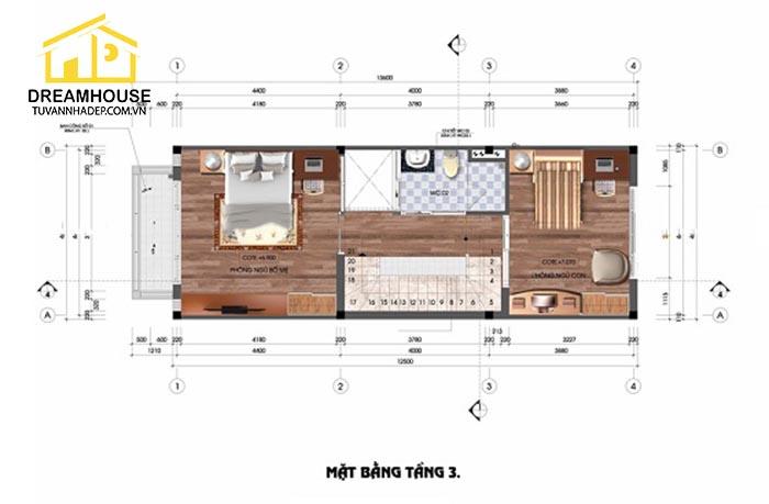 bản vẽ mặt bằng tầng 1 của nhà phố 3.5 tầng