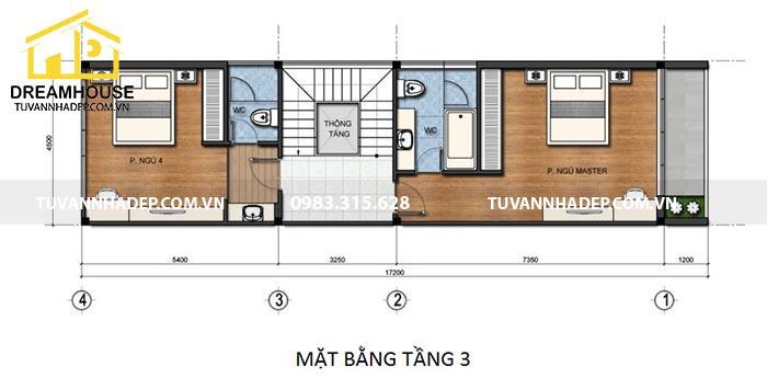 bản vẽ mặt bằng tầng 3 của nhà phố 90m2