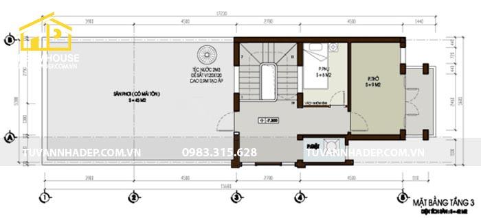 cách bố trí tầng 3 của nhà mái thái mặt tiền 4.5m