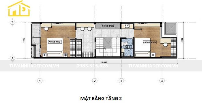 mẫu mặt bằng tầng 2 nhà mặt tiền 4m
