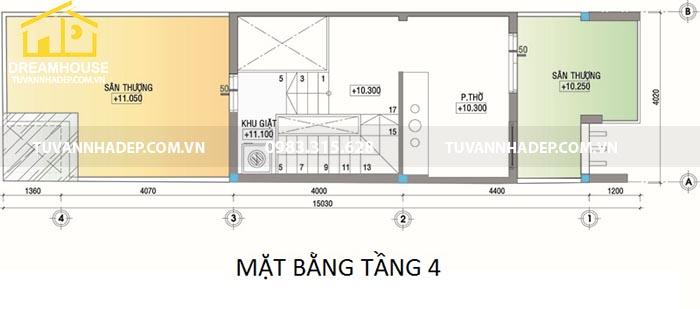 bản vẽ tầng 4 nhà 4x15m