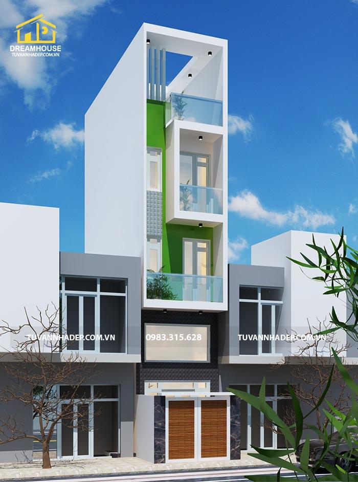 phương án phối cảnh 1 mẫu nhà phố mặt tiền 3m