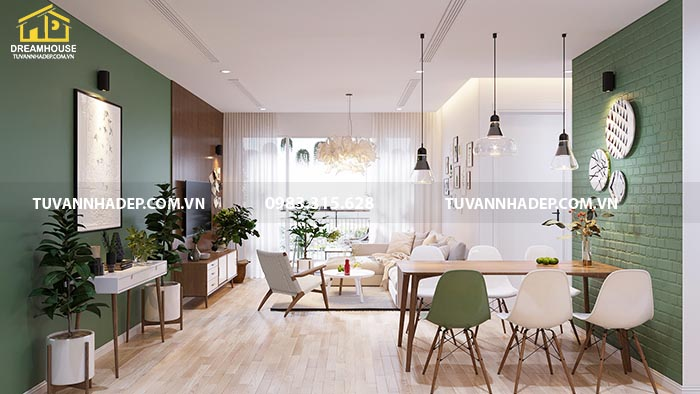 Mẫu thiết kế nội thất chung cư 90m2 phong cách Bắc Âu