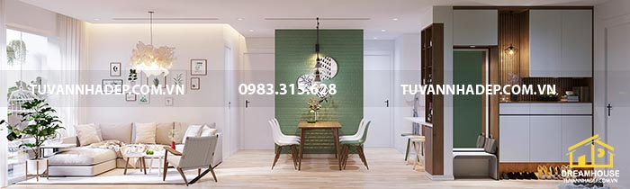 Nhìn phòng khách thiết kế căn hộ chung cư hiện đại từ cửa