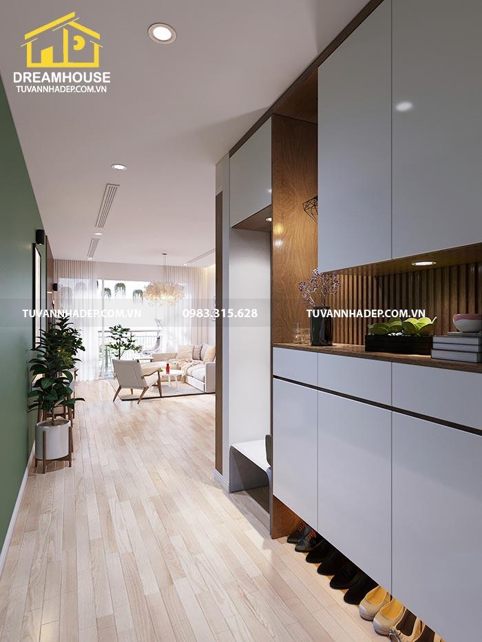 Thiết kế lối vào căn hộ chung cư 90m2