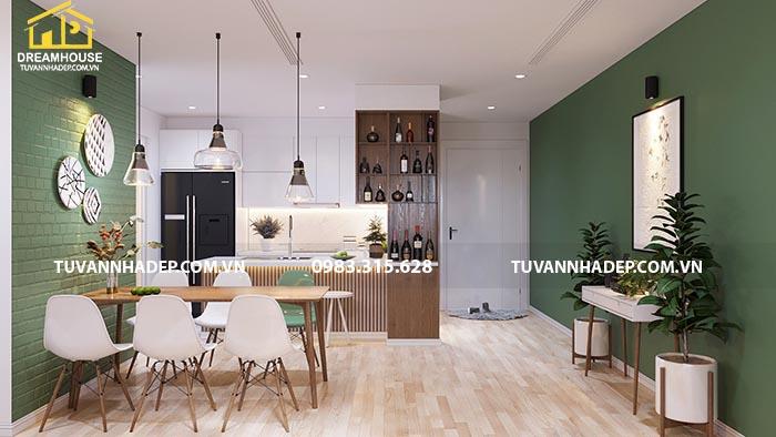 Tổng thể căn bếp cùng bàn ăn trong căn hộ chung cư 90m2