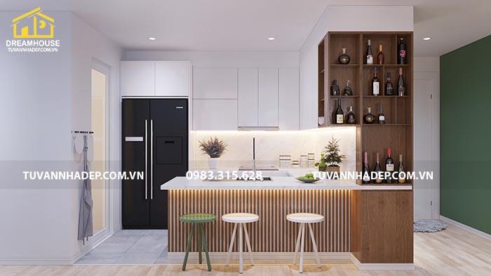 Quầy bar được thiết kế độc đáo trong nội thất căn hộ chung cư 90m2