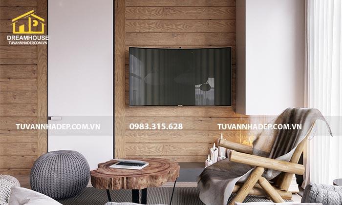 Kệ tủ tivi được sử dụng trong thiết kế nội thất căn hộ chung cư 100m2