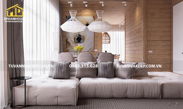 Mẫu thiết kế nội thất chung cư 100m2 hiện đại sang trọng với chất liệu gỗ tự nhiên