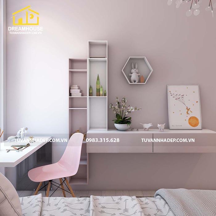 phòng ngủ kết hợp với không gian học tập