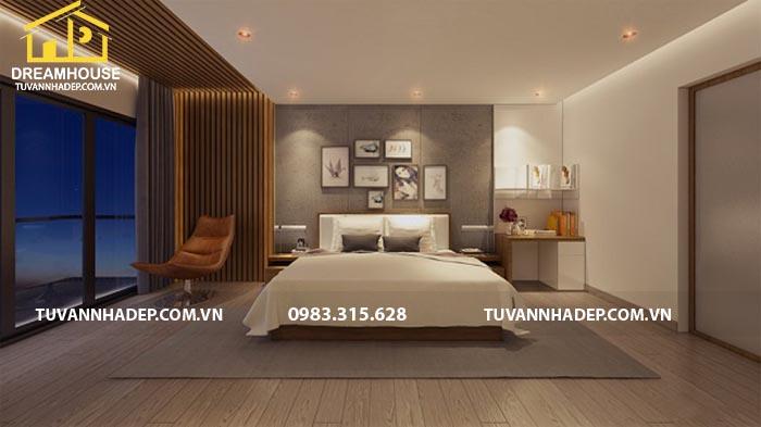 phòng ngủ được lựa chọn với những gam màu sắc nhẹ nhàng thanh thoát