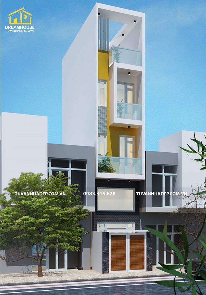 hình ảnh phối cảnh 2 nhà phố 3 tầng hiện đại mặt tiền 3m