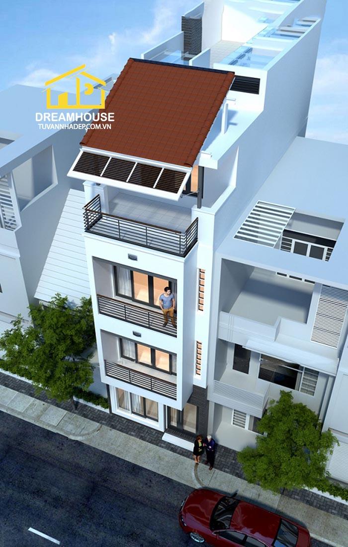 phối cảnh tổng thể của nhà phố 4.5x15m 3.5 tầng