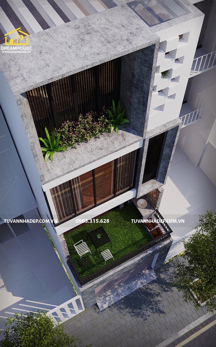 góc nhìn từ trên xuống mẫu nhà phố đẹp