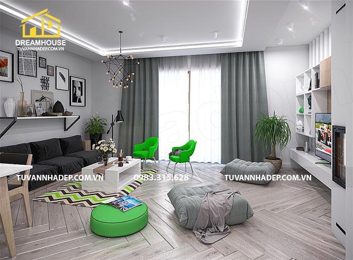 phòng khách đẹp với gam màu xanh lá