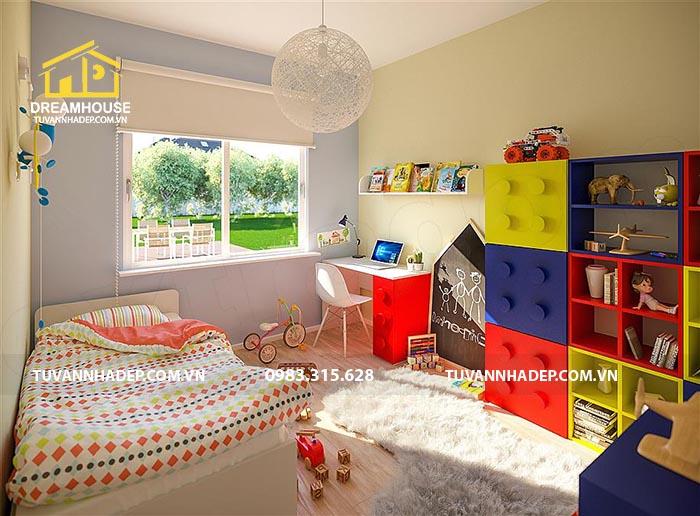 không gian phòng ngủ sắc màu cho bé