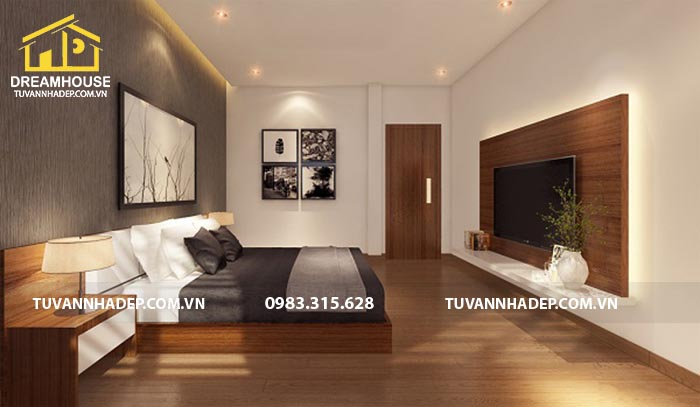nội thất phòng ngủ được sử dụng chủ yếu là chất liệu gỗ