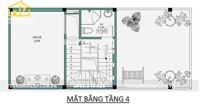bản vẽ chi tiết mặt bằng tầng 4 nhà phố 5x10m