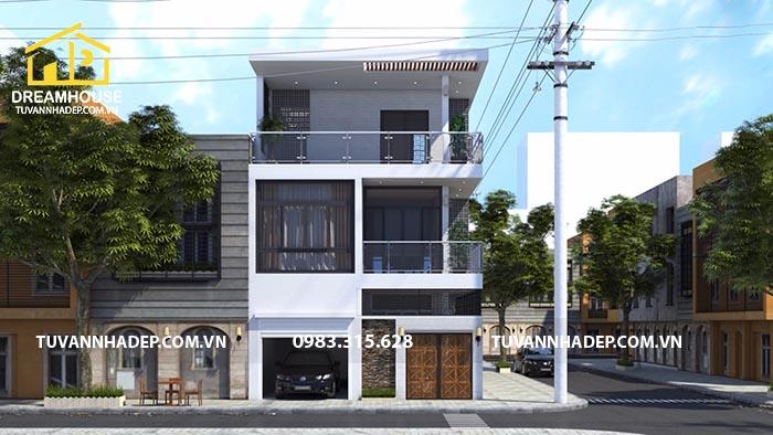 mẫu nhà phố mặt tiền 8m 2 tầng