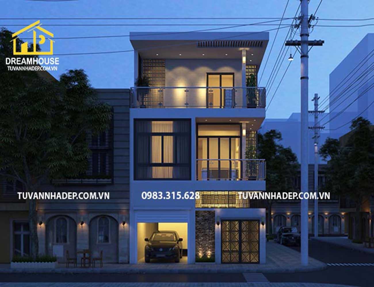Tư vấn thiết kế mẫu nhà phố mặt tiền 8m 2 tầng đẹp hiện đại