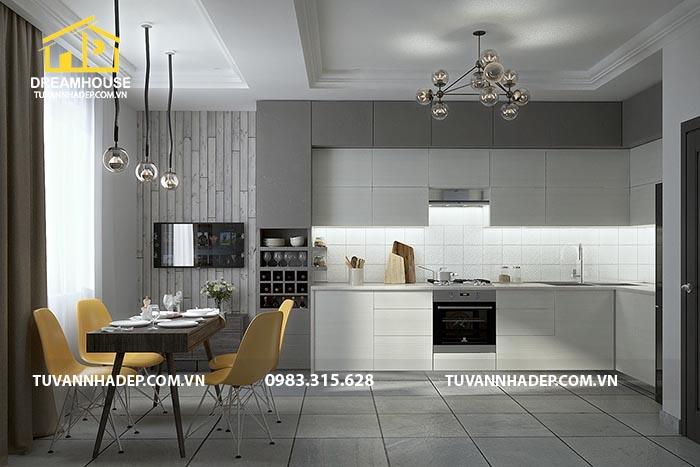 không gian bếp và phòng ăn