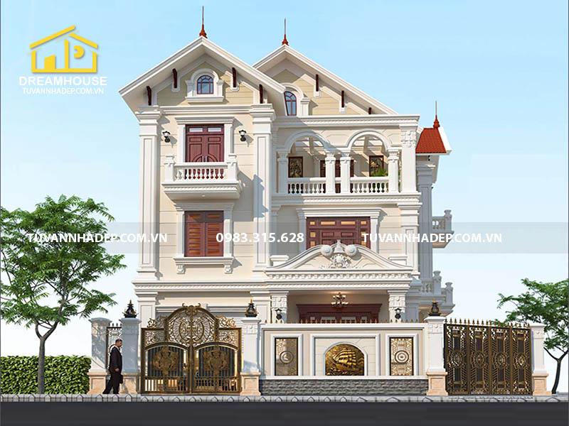 Thiết kế mẫu biệt thự 3 tầng mái thái mặt tiền 10m ở Điện Biên