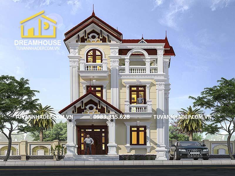 Mẫu biệt thự 3 tầng tân cổ điển mặt tiền 7m ở Hà Nội