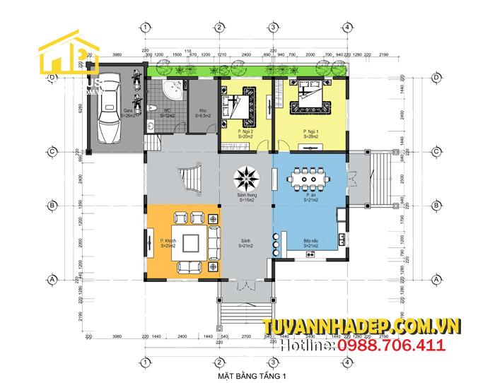 bản vẽ mặt bằng tầng 1 biệt thự 2 tầng mái thái 200m2 4 phòng ngủ