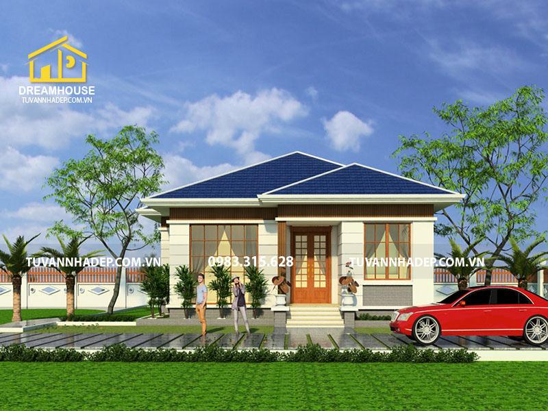 Mẫu thiết kế biệt thự vườn 1 tầng 120m2 mái thái lạ mắt ở Hà Nội