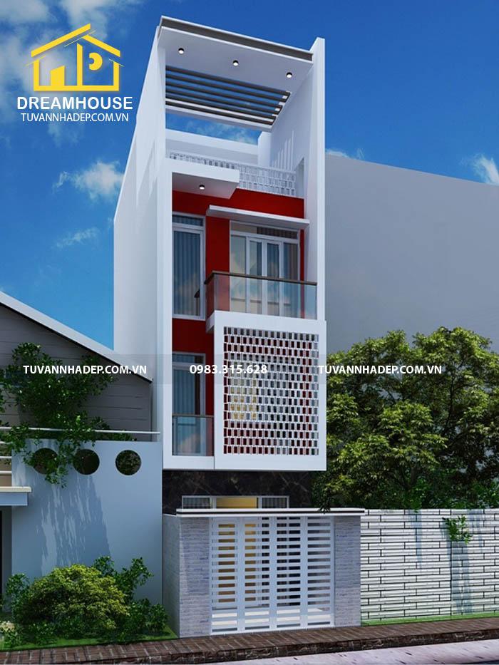thiết kế nhà phố 80m2 4 tầng 4x20m