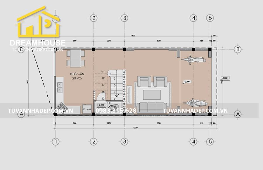mặt bằng tầng 1 bản vẽ mặt bằng tầng 1 nhà mái thái 3 tầng mặt tiền 5m
