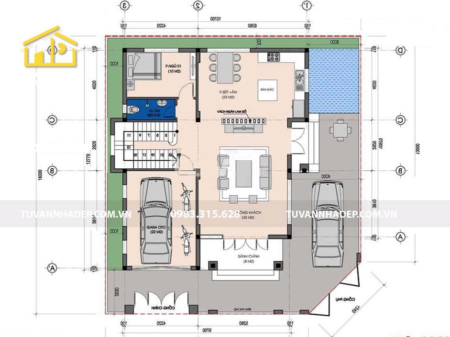 bố trí công năng tầng 1 biệt thự 3 tầng mái thái mặt tiền 10m