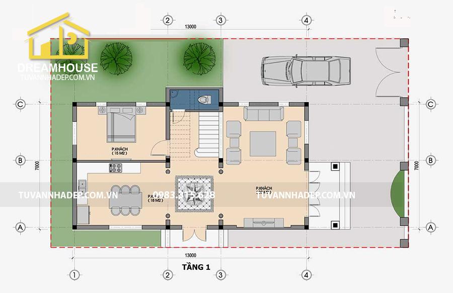 bố trí công năng mặt bằng tầng 1 biệt thự 3 tầng tân cổ điển mặt tiền 7m