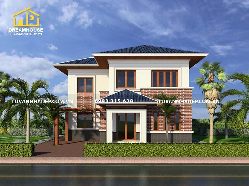 Thiết kế nhà 2 tầng 3 phòng ngủ 120m2 kiểu chữ L mới lạ ở Tuyên Quang