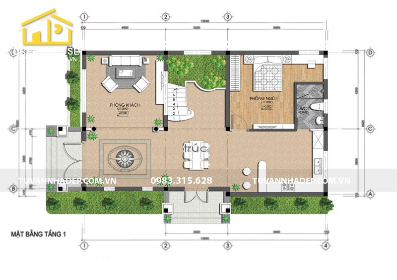 cách sắp xếp mặt bằng tầng 1 nhà 2 tầng mặt tiền 8m