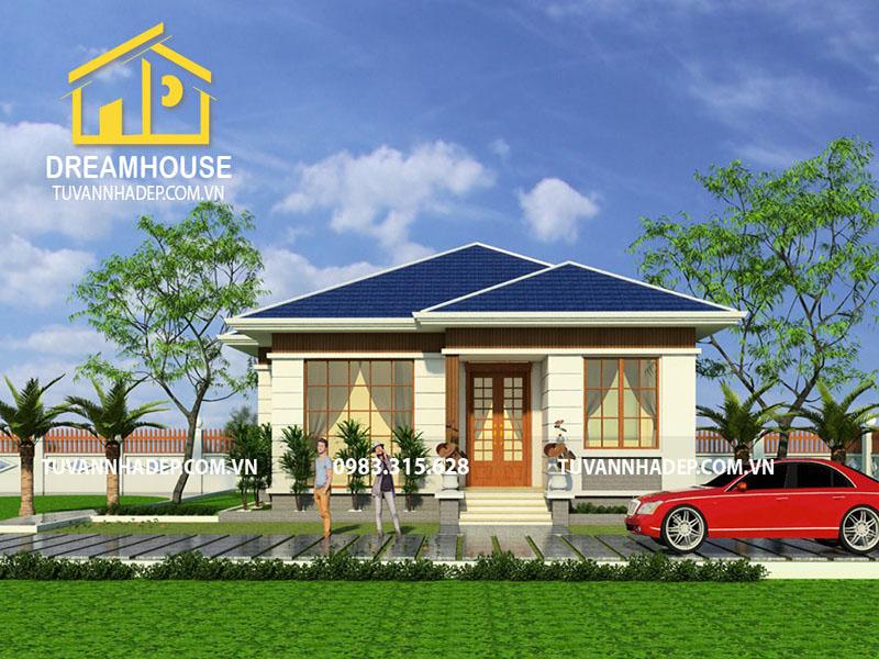 Thiết kế nhà cấp 4 2 phòng ngủ 110m2 mái thái hiện đại