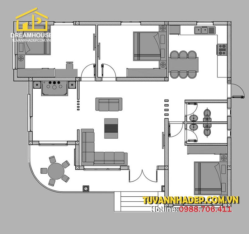 bản vẽ mặt bằng nhà cấp 4 3 phòng ngủ 140m2