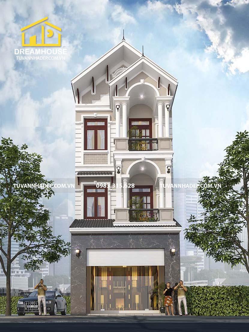 hình ảnh mặt tiền nhà mái thái 3 tầng mặt tiền 5m